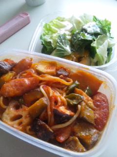 菜園野菜&amp;<br />  根菜のトマトパスタ