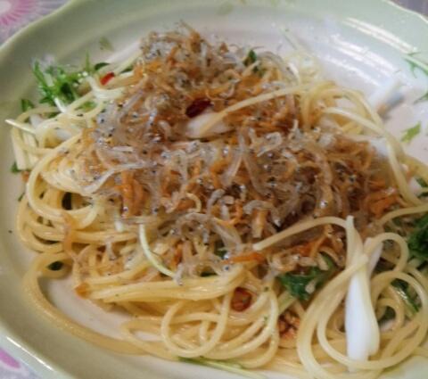 シラスと水菜のペペロンチーノ